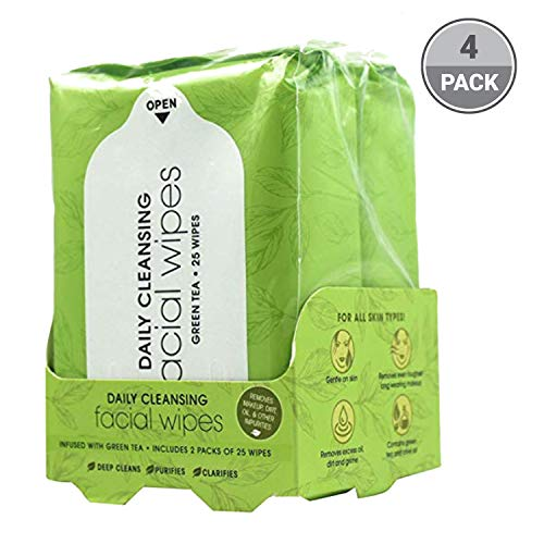 (Green Tea Facial Cleansing Wipes | 100 Count of Hydrating Face Wipes from BeautyFrizz | Green Tea Wipes with Olive Oil & Grapes | Gentle Face Wipes to Fight Grime | Makeup Wipes for All Skin Types)