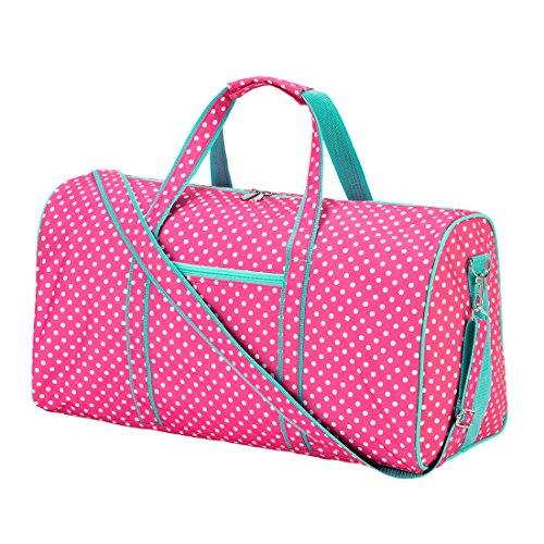 - High Fashion 21 in Print Duffle Monogrammed Pink Dottie