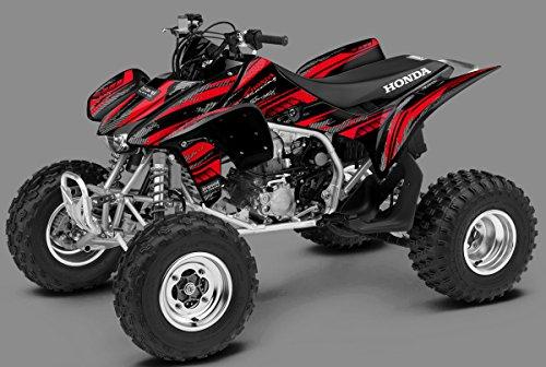 Honda TRX 450R Graphics Kit - Racer-X, Black Background, Red Design ('04-'07)