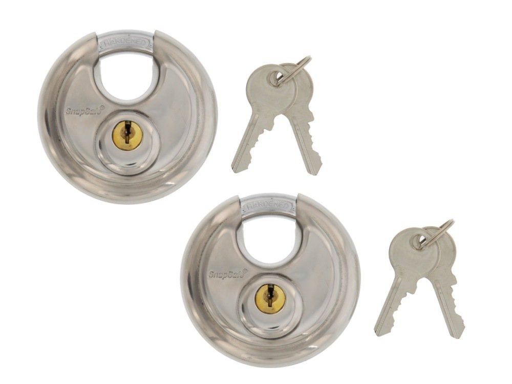 SnapSafe (2 PACK) Stainless Hardened Steel Round Disc Padlocks, For Maximum Security, Ideal for Storage Units or Box Trucks, Indoor/Outdoor Use, Includes 2 Locks Keyed Alike
