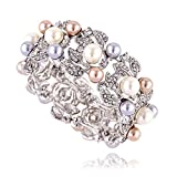 KAYMEN Imitation-pearl and Rhinestone Leaf Bangle Bracelet for Women, Girl, Wedding, Party
