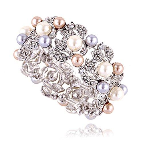 KAYMEN Imitation-pearl and Rhinestone Leaf Bangle Bracelet for Women, Girl, Wedding, Party by KAYMEN FASHION JEWELLERY