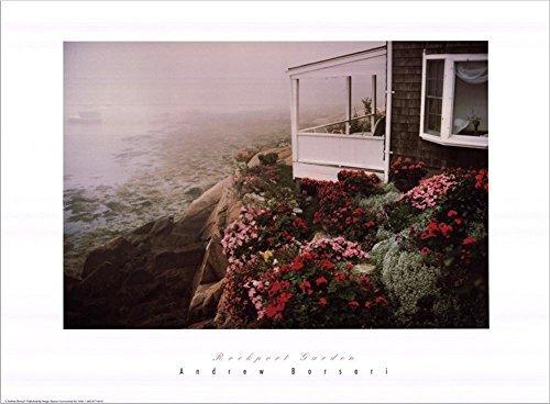 Buyartforless Rockport Garden by Andrew Borsari 24x18 Art Print Poster Photograph Beautiful Coastal Beach House with Floral Garden Rocky Cliff Foggy Ocean View
