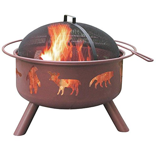 Fire Pit Georgia Clay - 24 in. Big Sky Wildlife Fire Pit in Georgia Clay with Cooking Grate