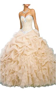 01a287c271e Onlybridal Women s Quinceanera Dresses Off Shoulder Organza Beaded Prom  Ball Gowns Sweet 16 Dresses