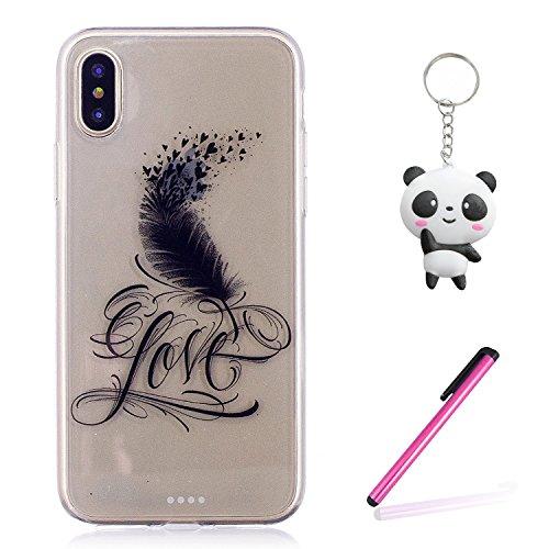 iPhone X Hülle Liebesfeder Premium Handy Tasche Schutz Transparent Schale Für Apple iPhone X / iPhone 10 (2017) 5.8 Zoll + Zwei Geschenk