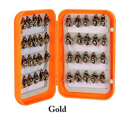 40pcs Fly Fishing Lure Kit Dry/Fly Flies Baits Hooks Feather Wing for Trout Bass Artificial Pesca Bait Lure Fishing Tackle Color Gold (Grip Sinker)