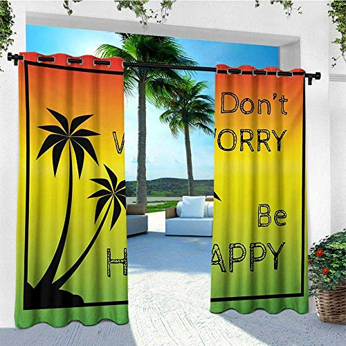 - leinuoyi Rasta, Outdoor Curtain Panel Design, Dont Worry Be Happy Music Quote of Iconic Singer Palms Ombre Colors, for Privacy W108 x L96 Inch Lime Green Yellow Black