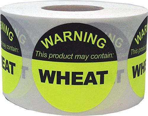 Food Allergy Warning Labels This Product May Contain Wheat 1 1/2 Inch Round Circle Dots 500 Adhesive Stickers ()