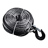 """20000LB 95' X 3/8"""" Synthetic Winch Rope Cable & Heavy Duty Steel Hook for Jeep ATV UTV Recovery, Grey"""