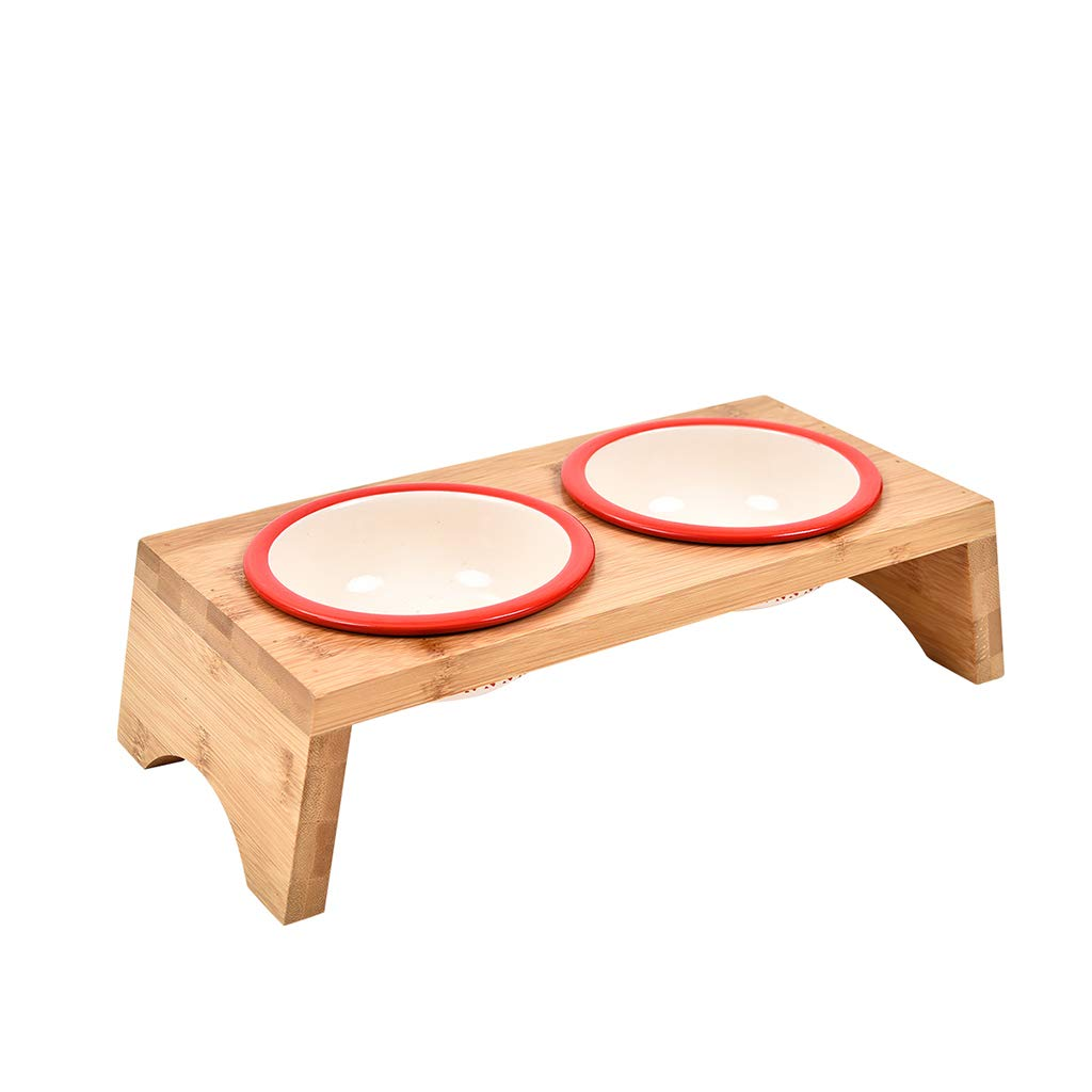 QIQI-PET Ceramic Pet Bowls Cat Dog Food Water Feeding Bowl with Rectangle Wooden Bamboo Stand