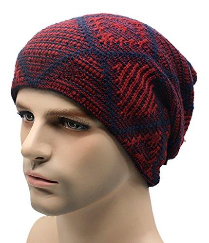 Veenajo Men's Soft Plaid Thick Knit Skull Caps Fall/Winter Slouchy Beanies Warm Ski Hat (Burgundy) (Burgundy Felt Bonnet)