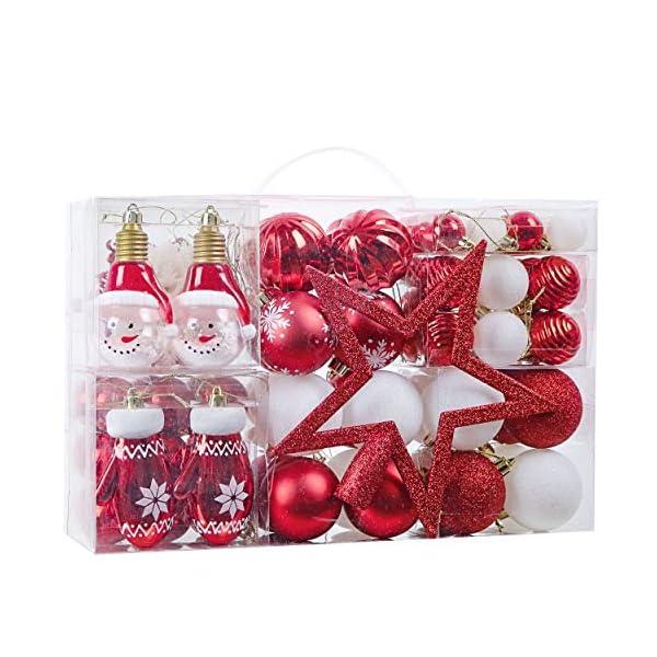 Victor's Workshop Addobbi Natalizi 100 Pezzi di Palline di Natale, Oh Cervo Rosso e Bianco Infrangibile Palla di Natale Ornamenti Decorazione per la Decorazione Dell'Albero di Natale 1 spesavip