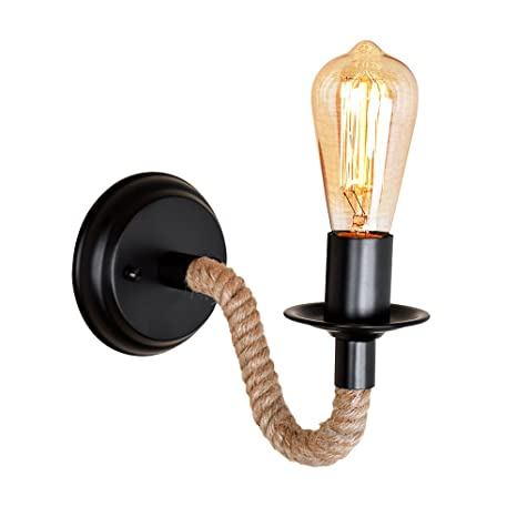 sports shoes def33 70a47 Vintage Hemp Rope Wall Lights Retro Loft Rope Light Wall Light Corridor  Kitchen Fitting Wall Lamp