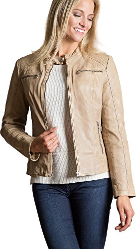 Sheepskin For Jackets Women (Overland Sheepskin Co Arissa Lambskin Leather Moto Jacket)