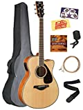 Yamaha FSX820C Solid Top Small Body Acoustic-Electric Guitar - Natural Bundle with Gig Bag, Tuner, Strings, Strap, Picks, Austin Bazaar Instructional DVD, and Polishing Cloth