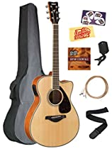 Yamaha FSX820C Small Body Acoustic-Electric Guitar Bundle with Gig Bag, Tuner, Strap, Instructional DVD, Strings, Picks, and Polishing Cloth - Natural