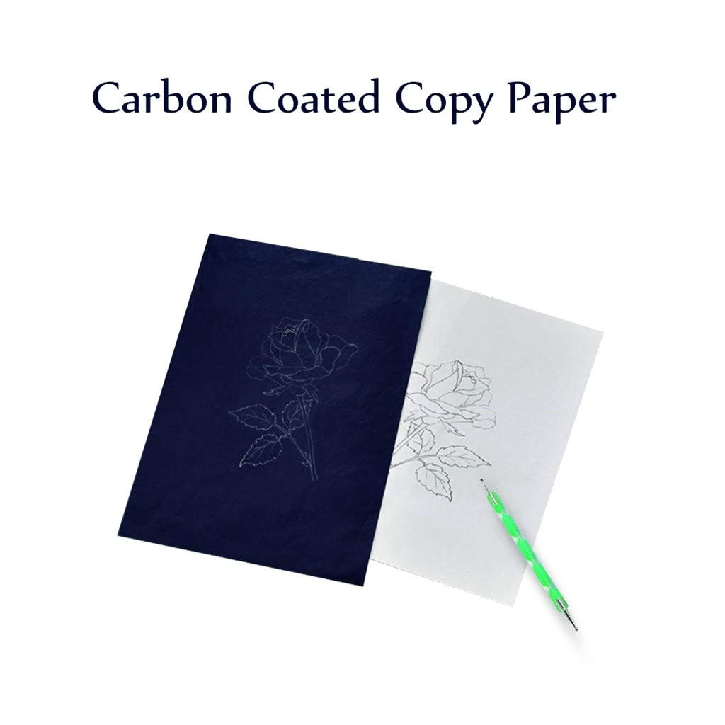 Blue Canvas and Other Art Craft Surfaces callm 200 Sheets Carbon Paper Black Transfer Tracing Paper and 5 Pieces Ball Pens Embossing Styluses for Wood Paper