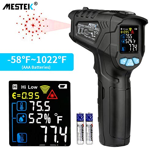 Infrared Thermometer Temperature Gun MESTEK Non-Contact Laser Digital Thermometers with Color LCD Screen -58℉~1022℉(-50℃~550℃) Adjustable Emissivity Humidity Alarm Setting Max/Hold Indoor Outdoor Home (Best Temperature And Humidity For Gun Storage)