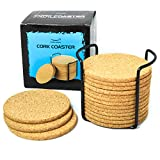 """Natural Cork Coasters for Drinks - 16pc Set with Metal Holder Storage Caddy - Absorbent Round Edge 4"""" Absorbent, Cups & Mugs, Eco-Friendly, Heat-Resistant, Reusable Saucers for Cold Drinks, Wine Glass"""