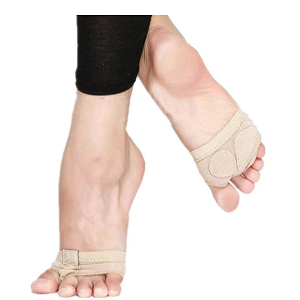 FEESHOW 1 Pair Forefoot Cushion Cover Paw Toe Foot Sleeve for Ballet Dance Beige S