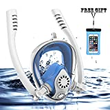 Full Face Snorkel Mask, HJKB K2 Free Breathing Snorkeling Mask with Double Tubes and 180° Panoramic Viewing, Zero Fog and Anti Leak Guarantee with Camera Mount for Adult (White + Blue, Medium Adult)