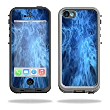 Mightyskins Protective Vinyl Skin Decal Cover for LifeProof iPhone 5C Case fre Case wrap sticker skins Blue Mystic Flames