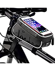 HEKIWAY Bike Frame Bag Waterproof and sunshade Bike Pouch Bag Bicycle Large capacity storage bag with Headphone Hole for any Smart Phone Below 7 inch
