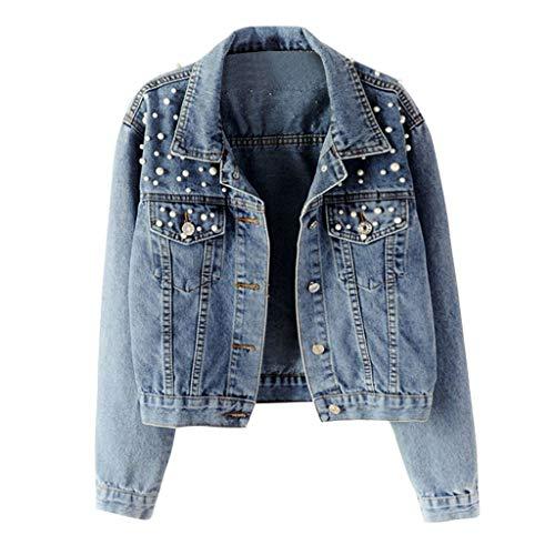 iHHAPY Women's Pearl Denim Jacket Denim Jacket Transitional Jacket Casual Elegant Jacket with Pearl Leisure Denim Jacket (Polizei-designer)