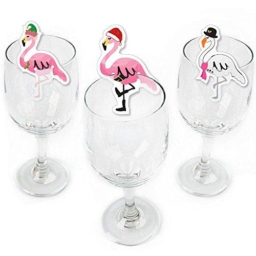 Flamingle Bells - Shaped Tropical Flamingo Christmas Wine Glass Markers - Set of 24