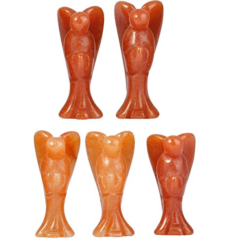 rockcloud Healing Crystal Red Aventurine Carved Pocket Crystal Praying Guardian Angel Figurines Mini Size 1.5 inch Height Pack of 5