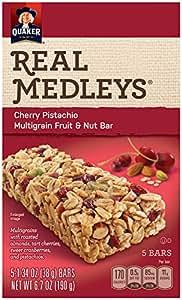 Quaker Real Medleys Multigrain Fruit and Nut Bars, Cherry Pistachio, Snack Bars, 5 Bars (Pack of 8)