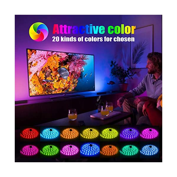 LED Strip Light, 16.4 ft Waterproof Music RGB 5050 Led Rope Lights Color Changing LED Light Strip Kit with Remote… 2