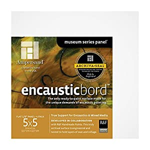 Ampersand Encausticbord Hardboard Panel for Encaustics and Mixed Media, 7/8 Inch Depth Cradle, 5X5 Inch (ENC75055)