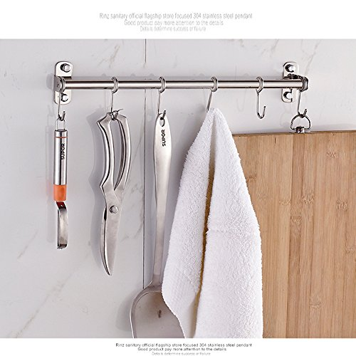 Wall Mount Hanging Kitchen Rack , Stainless Steel Pot Storage Holder Hanger , 16 Inch Utensil Shelf Pan Cabinet Rail Organizer With Removable S 6 Hooks , For Coat , Spoon , Towels , Bar , Kitchen Tool