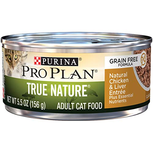 Purina Pro Plan Natural, Grain Free Pate Wet Cat Food, TRUE NATURE Natural Chicken & Liver Entree – (24) 5.5 oz. Cans