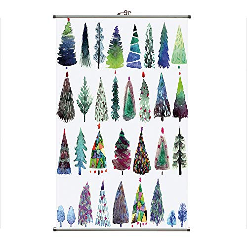 iPrint Wall Hanging Picture Wall Scroll Poster Fabric Painting,Watercolor Christmas Fir Trees Artistic Abstract,3D Print Design Personality Customization Make Your Room unique23.6 X39.4 -