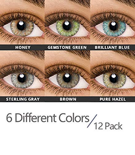 Maxiy Girl Colored Contact Lenses - 6 Different Colors in 12 Pack