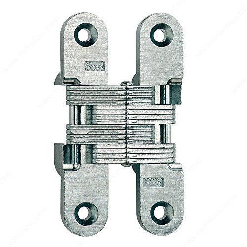 Concealed Steel Hinge - Model #212, The hinge is invisible when closed., Finish Satin Brass