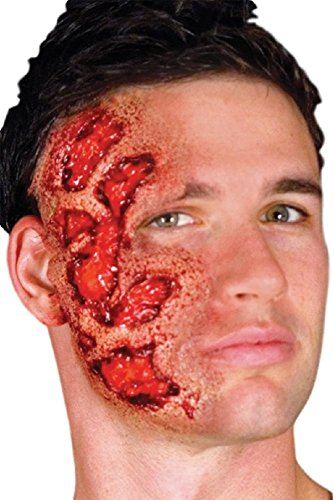 Ladies Mens Halloween Bloody Burnt Face Zombie Special Effects Latex Make Up Fancy Dress Costume Outfit Kit (Face Burn)