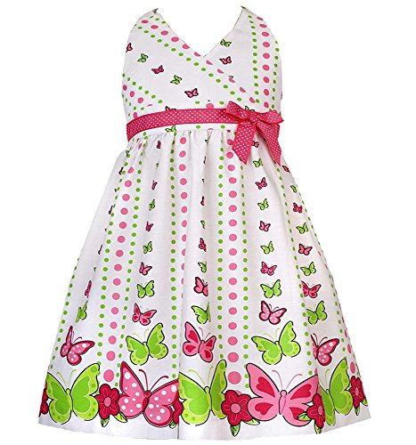 Rare Editions Little Girl 2T-6X White/Pink/Green Butterfly Polka Dot Print Cotton Halter Dress, Fuchsia,6