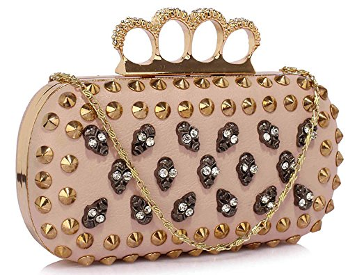 Skull Clutch Bag Ladies Evening Handbag New Womens Unique With Chain Shoulder Fashion Studs Design 1 - Nude