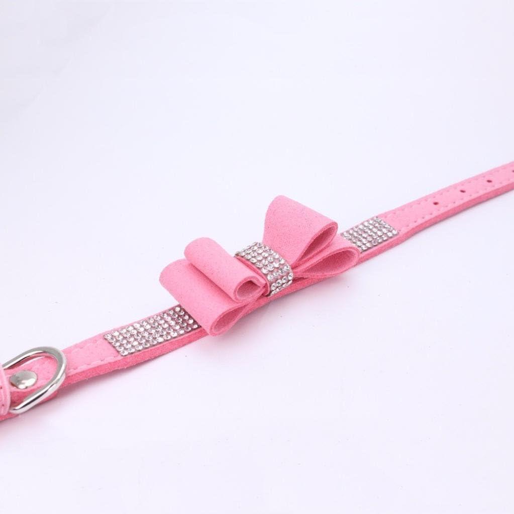 Pet Supplies Adjustable Bowknot Dog Cat Necklace Rhinestone Crystal Bling Dog Collar Howstar Pet Collars