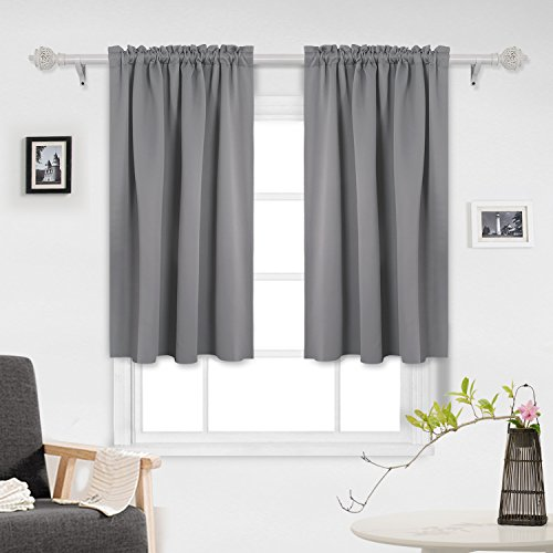 Complete 45 Tabs (Deconovo Grey Blackout Curtains Room Darkening Curtains Black Out Window Curtains for Small Windows 42W x 45L Inch Light Grey 2 Panels)
