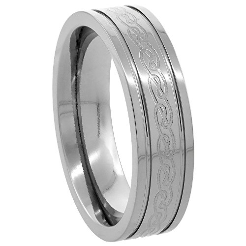 Sabrina Silver 6mm Titanium Wedding Band Etched Celtic Knot Ring Flat Grooved Edges Comfort Fit, Size 9