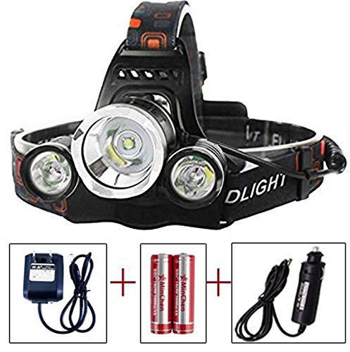 MINCHEN High Power Led Headlamp, 5000LM 3x XML T6 LED Headlamp Outdoor Sports Headlight Flashlight with Protected 18650 Batteries and chargers