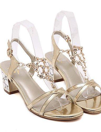 LFNLYX Zapatos de mujer-Tacón Robusto-Tacones / Plataforma / Punta Abierta-Sandalias-Vestido-Sintético-Oro golden
