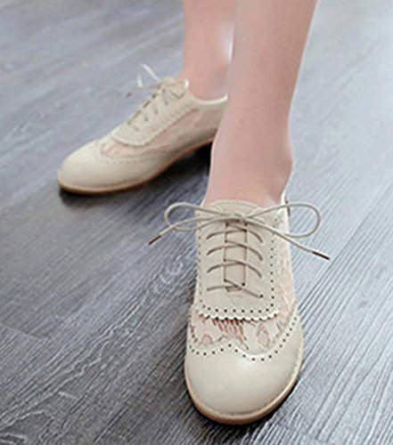 Top Oxfords Shoes Women's Beige Chunky Heels Cut Lace Low Breathable Out Up Idifu 4OgPqaw0q