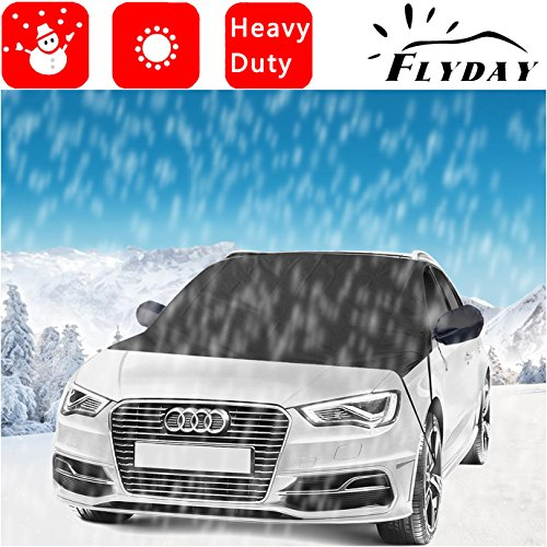 Flyday Waterproof Car Windshield Snow Cover & Sun Shade for Sedan & SUVs Prepare For All Weather