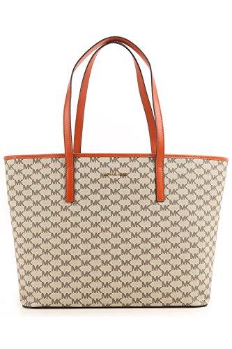 (MICHAEL Michael Kors Womens Emry Canvas Monogram Tote Handbag Beige Extra Large)